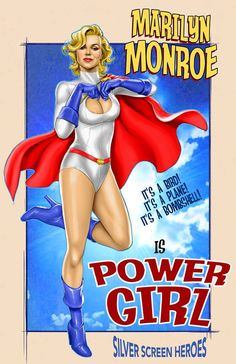 Marilyn Monroe as Power Girl. Silver Screen Heroes project - by Joe Phillips Hollywood Walk Of Fame, Hollywood Stars, Old Hollywood Style, Golden Age Of Hollywood, Hollywood Glamour, Will Turner, Lana Turner, Clark Gable, Dc Comics