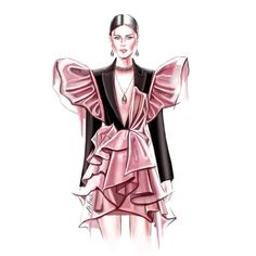 Black wool silk tuxedo dress with contrast ruffles in flamingo pink taffeta. Fashion Design Portfolio, Fashion Design Drawings, Fashion Sketches, Dress Design Drawing, Dress Design Sketches, Dress Designs, Home Fashion, Fashion Art, Editorial Fashion