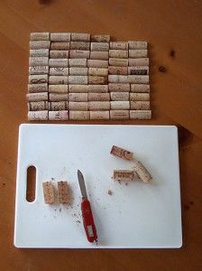 Cut the corks lengthwise