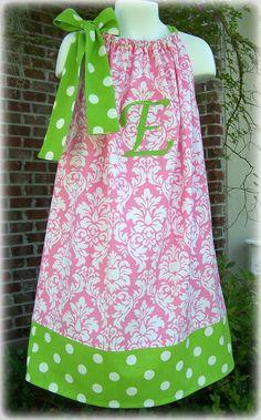 Custom Boutique Clothing Girls Dress Pink & White Damask Pillowcase Dress with Monogram, Size 6mos to 8yr. $45.00, via Etsy.