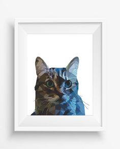 Cat Print,Cute Cat,Polygonal Cat,Geometric Cat Art Wall Print,Cats Art, Low Poly,Geometric Animal Prints,digital prints,Low poly design
