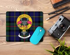 Rubber mousemat with MacLeod clan crest and tartan  - only  from ScotClans