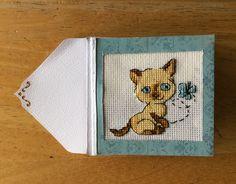 "Cross stitch birthday card ""Fufi"", made by Karen Miniaci."