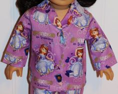 PRINCESS IN TRAINING Cotton Pajamas fit  American Girl  Doll Clothes - Made in America