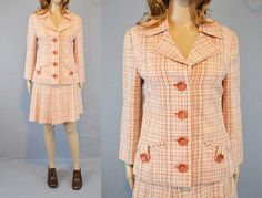 1960s Skirt Set / Vintage Suit / Pink Plaid by ShopReverieVintage, $38.00