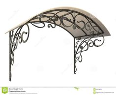 Illustration about Wrought iron canopy isolated on white background. Illustration of iron, arch, deco - 29001190 Wrought Iron Decor, Wrought Iron Gates, Iron Pergola, Porch And Balcony, Door Canopy, Iron Furniture, Glass Front Door, Canopy Outdoor, Marquise