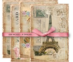 Digital Collage Sheet Download - Shabby Paris Postcards -  840  - Digital Paper - Instant Download Printable vintagebyme 3.47 EUR