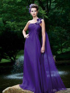 One shoulder A-line chiffon bridesmaid dress maritafashionabledresses.blogspot.com