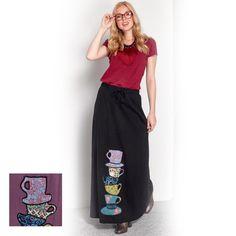 Platinum Maxi Μάυρη Φούστα '' Πολύχρωμες Κούπες'' - fm772-w Waist Skirt, High Waisted Skirt, Skirts, Fashion, Moda, High Waist Skirt, Fashion Styles, Skirt