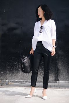 fall / winter - summer outfits - fall outfits - casual outfits - fall outfits - street style - street chic style - business casual - office wear - black & white - b&w - white v-neck tunic + black leather pants + white clutch + white stilettos + black sunglasses