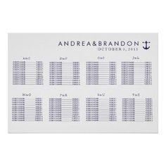 Nautical Navy Wedding Seating Chart Print
