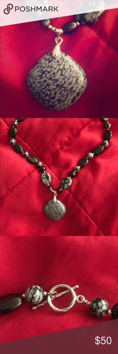 Black Gray Snowflake Obsidian Stone Choke Necklace Unique snowflake obsidian necklace goes with everything!  A stone of purity, Snowflake Obsidian brings about a balance to body, mind and spirit. Snowflake Obsidian helps to keep centered and focused when any type of chaotic situation (office, commute, home, etc.) presents itself. Snowflake Obsidian can remove negativity from a space or person with ease.  Physically, Snowflake Obsidian is associated with the skeletal and vascular systems, and…