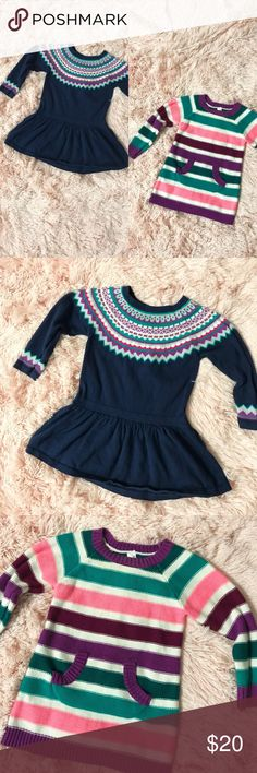 Cherokee Toddler Girl Two Knit Dresses ✨Bundle✨ Bundle of two Cherokee brand toddler girl dresses in excellent condition, the blue knit dress is size 18 months and the striped knit dress is size 12 months. Beautiful with leggings!  Prices are always negotiable, all offers are welcome 👍🏼 Cherokee Dresses