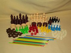 GAME PIECE LOT PLASTIC PICKUP STICKS CHESS CHECKERS DIE DICE REPLACEMENT PARTS #Unbranded