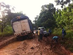 But Aminah our overland truck made her way around the carnage luckily! Overland Truck, West Africa, Roads, Trucks, Fun, Travel, Road Routes, Street, Truck
