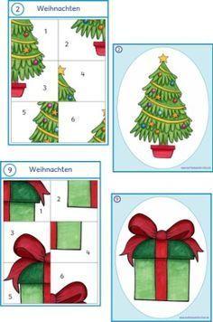 Wahrnehmung, Aufmerksamkeit, genaues schauen, Puzzle, puzzeln, Mathe, Vorläuferfertigkeiten, Basiskompetenzen, Vorschule, Klasse 1, Spiel, spielen, Weihnachten, Raum Vorstellung