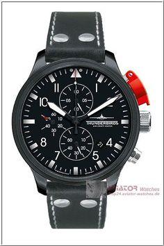 Thunderbirds Black Edition Chrono black leather barcelet