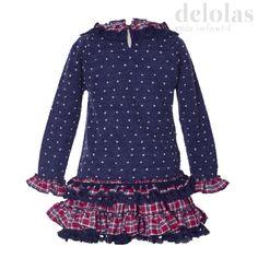 comprar online conjunto falda para niña galones cuadros rojos y azul marino nuevo en delolas