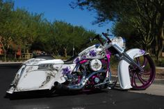 Great purple and pink paint job!! This awesome build features our custom painted V Arm wheel. The V Arm is available in a Polish, Chrome and Black Double Cut finish. #smt #bikes #wheels #harleydavidson #harley #rims #ride #yamaha #kawasaki #victory