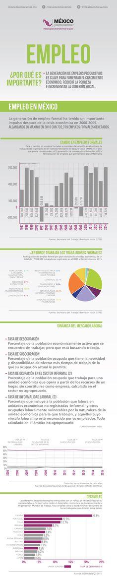 Hola: Una infografía sobre el Empleo en México. Vía Un saludo