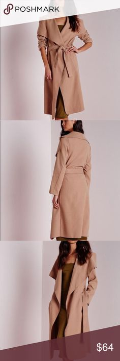 """Belted Waterfall Coat in Camel flaunt what you got in this belted serious soft feel beaut with oversize waterfall lapel finish to make sure you step up your coat game this season. style over skinny jeans and strappy heels to turn heads. approx length 114cm/45"""" (based on a size 4 sample)   92% polyester 8% spandex   model wears a us size 4 and her height is 5'9"""" Missguided Jackets & Coats"""