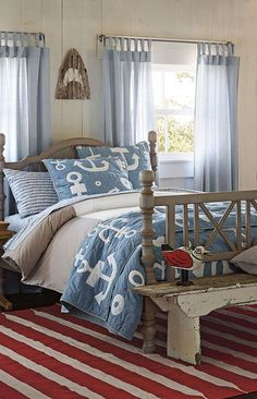 Boys Nautical Anchor Bedding // Love the Stripe Rug too! ♥
