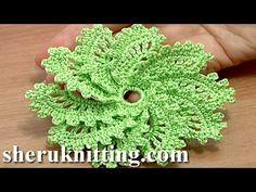 How to Crochet Spiral Flower 10 Petals Tutorial 54 virkkaa kukka opetusohjelma - YouTube