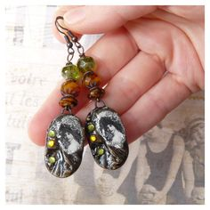 Rustic Bohemian Earrings, Vintage Earrings, Shabby Chic Earrings,... ($26) ❤ liked on Polyvore featuring jewelry, earrings, retro vintage earrings, ceramic earrings, long earrings, vintage bohemian jewelry and ceramic jewelry