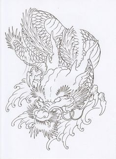Dragon Koi Tattoo Design, Dragon Tattoo Styles, Dragon Tattoo Art, Dragon Tattoo For Women, Tatoo Art, Dragon Art, Body Art Tattoos, Japanese Drawings, Japanese Tattoo Designs
