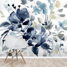 Stunning Indigo Garden 2 wall mural from Wallsauce. This high-quality Indigo Garden wallpaper is custom made to your dimensions. FREE UK delivery within 2 to 4 working days. Mural Wall Art, Mural Painting, Paintings, Wallpaper Furniture, Wall Wallpaper, Garden Mural, Retro Bedrooms, Living Room Murals, Green Home Decor