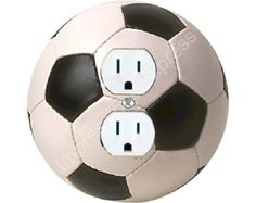 Soccer Ball Round Duplex Outlet Plate Cover    The image on this outlet plate is a high resolution photo of a real black and white soccer