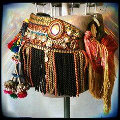 Tribal Fusion ATS Belly Dance Belt Kuchi Tassels Pom by NumiRoad, $250.00