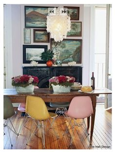 Mid Century Modern dining room with soft pastel Pink and butter Yellow chairs from AD Spain