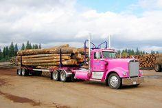 Pink Kenworth logging truck its a kdub Show Trucks, Big Rig Trucks, Old Trucks, Kenworth Trucks, Peterbilt, Chevy Trucks, Equipment Trailers, Logging Equipment, Pink Truck