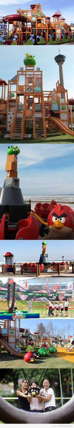 Angry Birds Playground. I want to go to there! This can be found in Särkänniemi amusement park in Tampere, Finland.