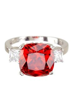 Sterling Silver Large Garnet CZ Cushion Ring