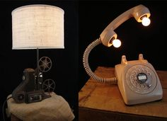 Vintage relics (rotary dial phones, percolators, and much more) turned into works of art.