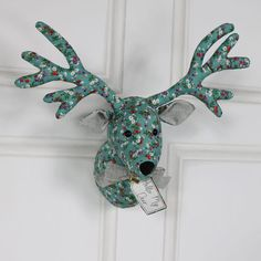 Green Floral Fabric Wall Mounted Stag Head  #reindeer #christmas #stag #staghead #homedecor #decorinspiration #homestyling