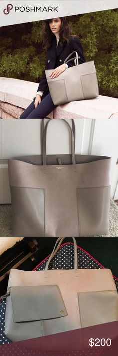 """EUC tory burch block t tote French gray In French gray. 16 ¼""""W x 13""""H x 5 ½""""D.Interior capacity: extra-large.8"""" strap drop.Raw yet refined, this minimal tote crafted from bonded leather is perfect for both everyday use and weekend travel. A spacious interior easily accommodates your tech and other essentials. A polished toggle closure and contrast interior lend modern touches to this ever-versatile style.worn less than 10 times Bags Totes"""