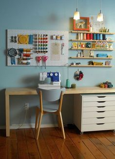 the narrow shelves would work above my sewing machine, like the peg board idea too. Maybe do a whole wall in peg board.