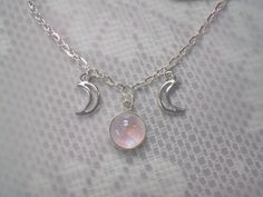 Pink Rainbow Moonstone Triple goddess moon necklace, made to order