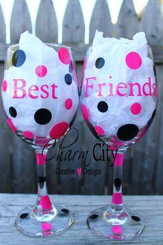 Best Friends Wine Glasses 20 oz Set of 2 Holiday Birthday Friend Bridal Bachelorette on Etsy, $25.00