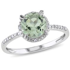 7.0mm Green Quartz and Diamond Accent Ring in 10K White Gold