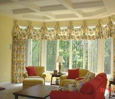 Living Room Bay Window Treatments   Window treatment ideas for bay windows in living room with red sofa