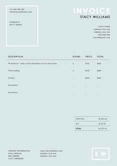 Invoice Template  Receipt Template  Invoice Instant Download