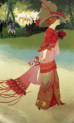 Woman in a Red Dress - Georges de Feure art nouveau