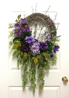 Gorgeous Purple Floral Wreath, Summer Wreaths for Door, Summer Wreath, Summer… Summer Door Wreaths, Wreaths For Sale, Wreaths For Front Door, Christmas Wreaths, Spring Wreaths, Etsy Wreaths, Corona Floral, Arte Floral, Grapevine Wreath
