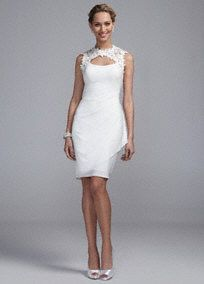 Feminine and versatile, this lace jersey dress is a look no one will forget!  Sleeveless gown features eye-catching and delicate lace keyhole back and peek-a-boo neckline.  Side drape detail helps create a stunning silhouette.  Jersey fabric is fashionable and comfortable to wear all night long.  Fully lined. Back zip. Imported polyester. Dry clean. To protect your dress, try our Non Woven Garment Bag.