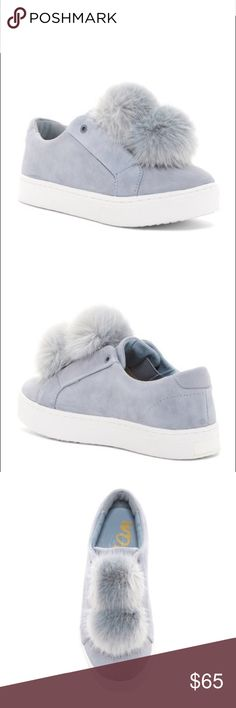 Sam Edelman Leya Slip On Pom Pom Sneakers Suede fashion sneaker with faux fur pom pom detail ✨ Sam Edelman shoes epitomize chic comfort. With exceptional materials and fine styling, each pair of Sam Edelman shoes is an affordable luxury that cleverly combines a youthful outlook with a worldly sensibility. Sophistication with down-to-earth appeal mean that these shoes are made to be lived in.   Size: 11 Color: Dusty Blue -- NWT never worn comes with box. Sam Edelman Shoes Sneakers