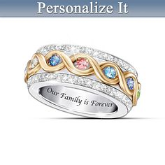 Family Is Forever Personalized Ring- LOVE the Spinny kind of rings!! can't decide if should put mine and Kurt's birthstones - one at each end?